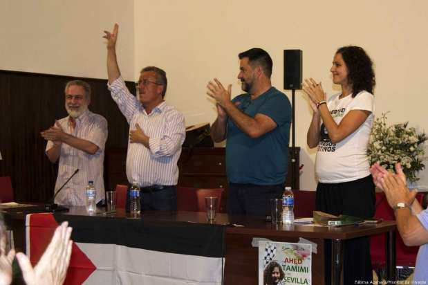 Ahed Tamimi's dad, Basim Tamimi, (2L) in Seville on 26 September 2018
