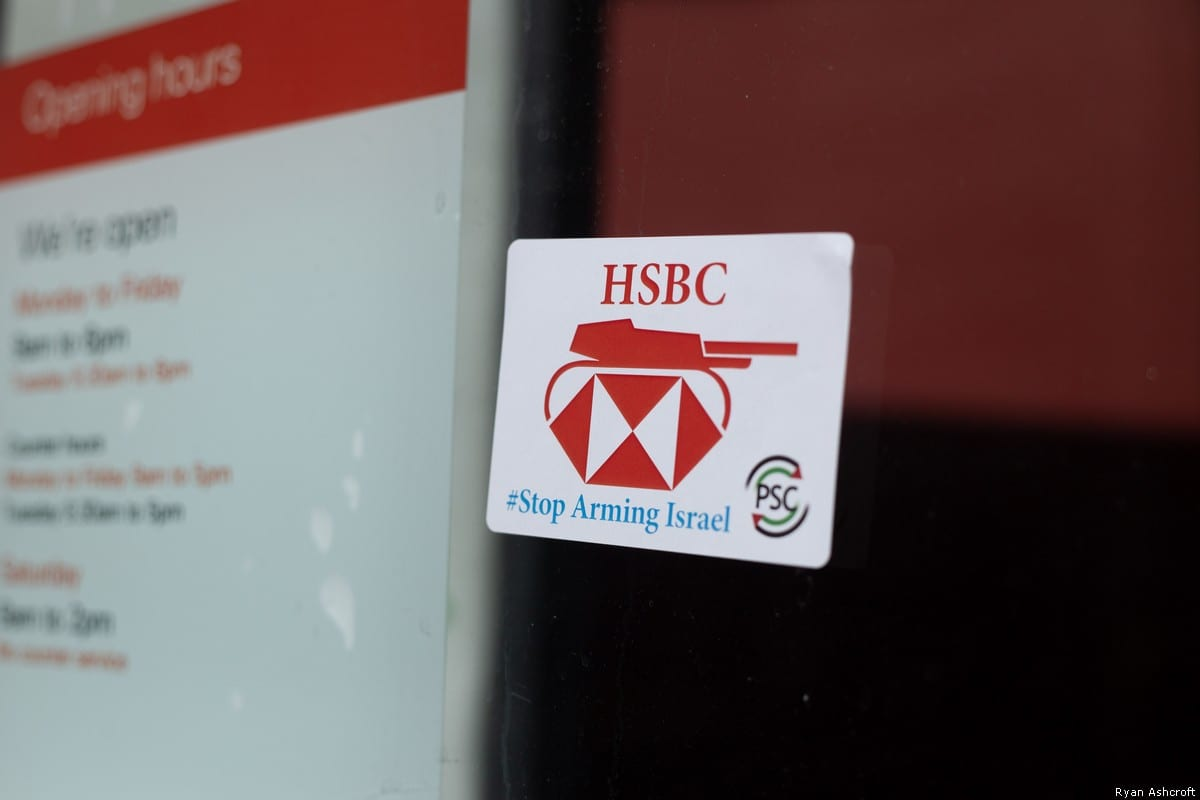 Protests target HSBC over shares in Israel weapons company