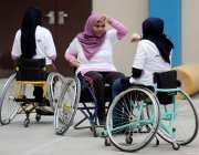 Palestinian wheelchairs users take part in a Karate lesson in Gaza City, Gaza [Ashraf Amra/Apaimages]