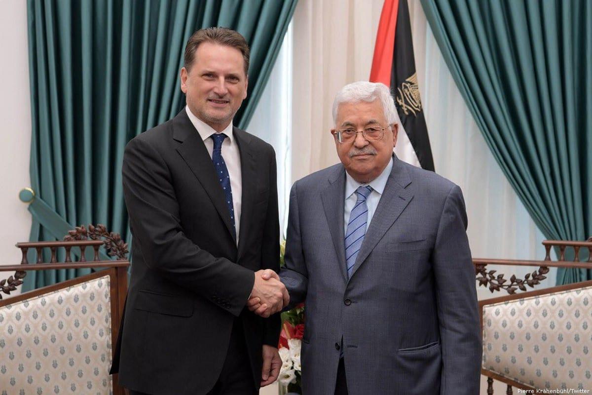 Pierre Krahenbuhl, the Commissioner General of UNRWA (L) and Palestinian President Mahmoud Abbas [Pierre Krähenbühl/Twitter]