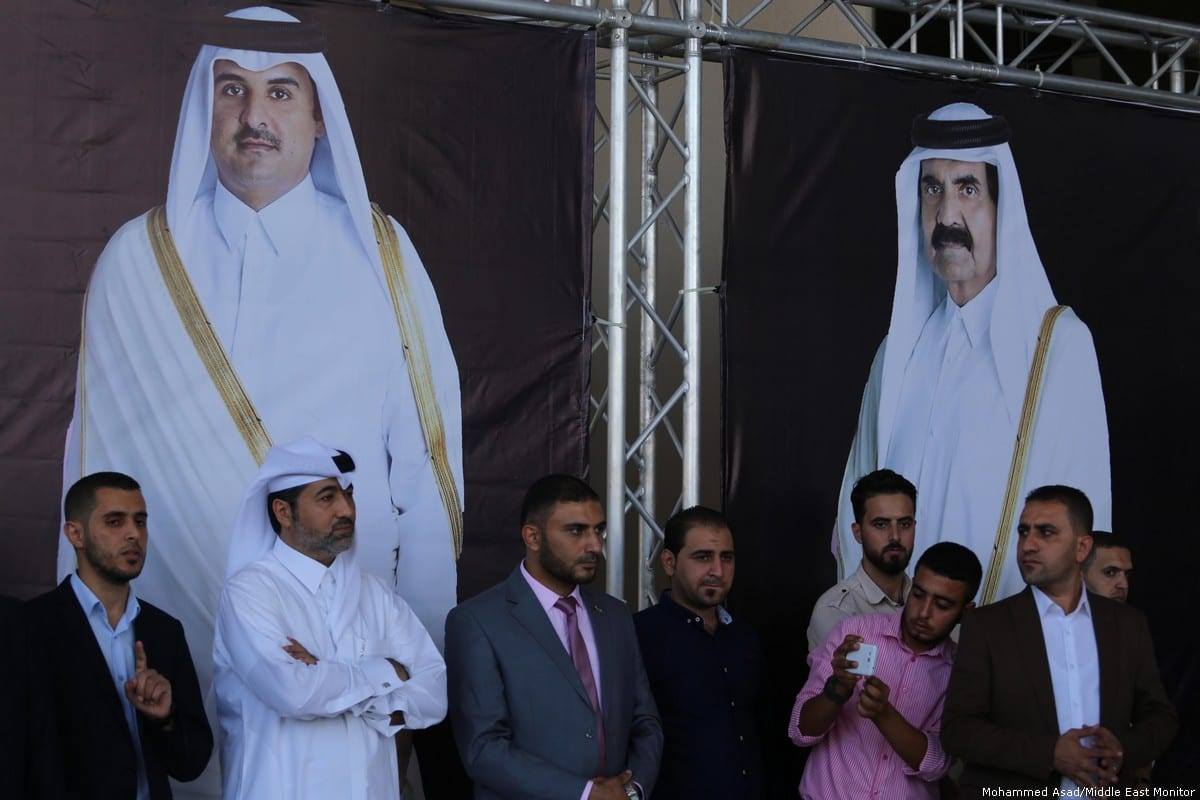 Qatari officials are seen at the opening ceremony of a court in Gaza on 16 September 2018 [Mohammed Asad/Middle East Monitor]