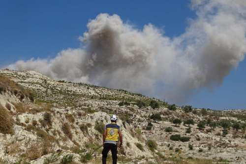 Smoke rises after Russia carried out air strikes in Idlib, Syria on 4 September 2018 [Hadi Harrat/Anadolu Agency]