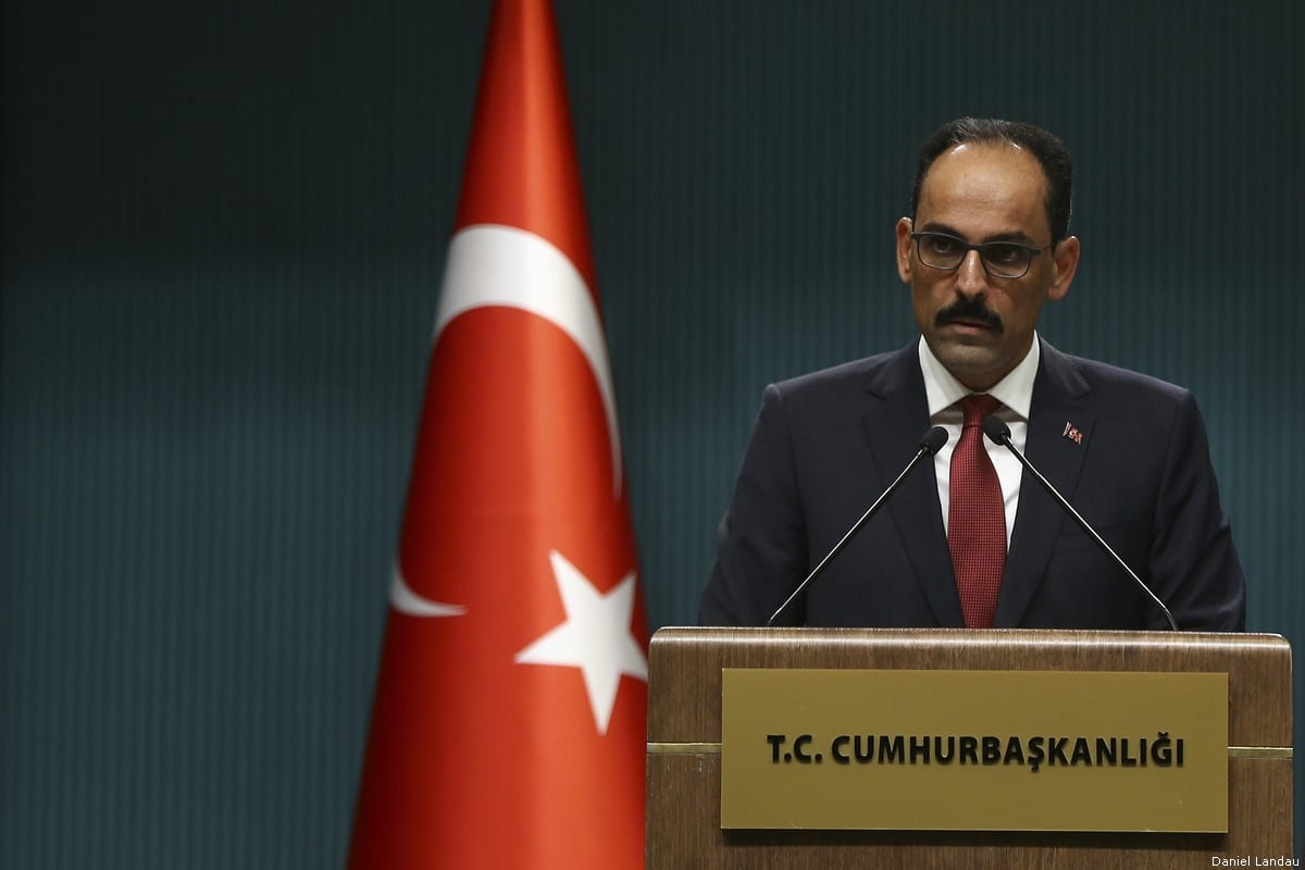 Turkish Presidential Spokesman Ibrahim Kalin holds a press conference in Ankara Turkey on 21 September 2018