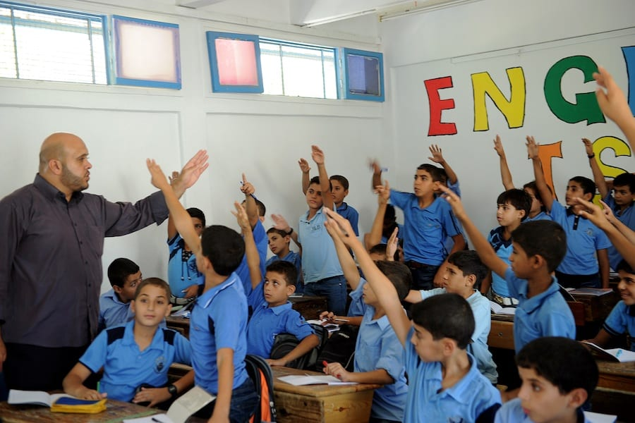 Students in a school in Gaza of the UNRWA at the beginning of the new academic year.