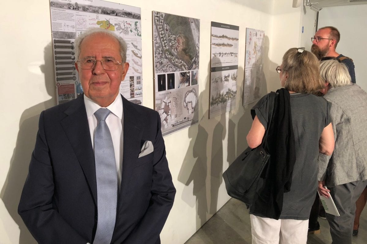 Dr Salman Abu Sitta, founder of the Palestine Land Society, seen at the P21 Gallery in London during the awards ceremony for an architectural competition for the reconstruction of destroyed Palestinian villages [supplied photo]