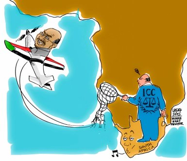 Defying the ICC, Sudan's Omar Al-Bashir flies out of South Africa - Cartoon [Cartoon Latuff/MiddleEastMonitor]