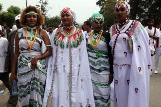 "Oromo women wearing traditional clothing attend the ""Irreecha"" festival (Oromo Thanksgiving) in Addis Ababa, Ethiopia on 30 September, 2018. [Minasse Wondimu Hailu/Anadolu Agency]"
