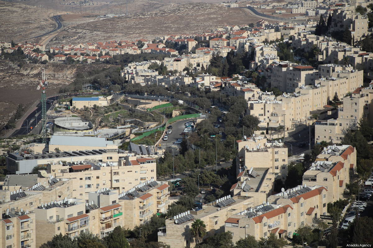 An aerial view of a Jewish settlement in East Jerusalem on 4 October 2018