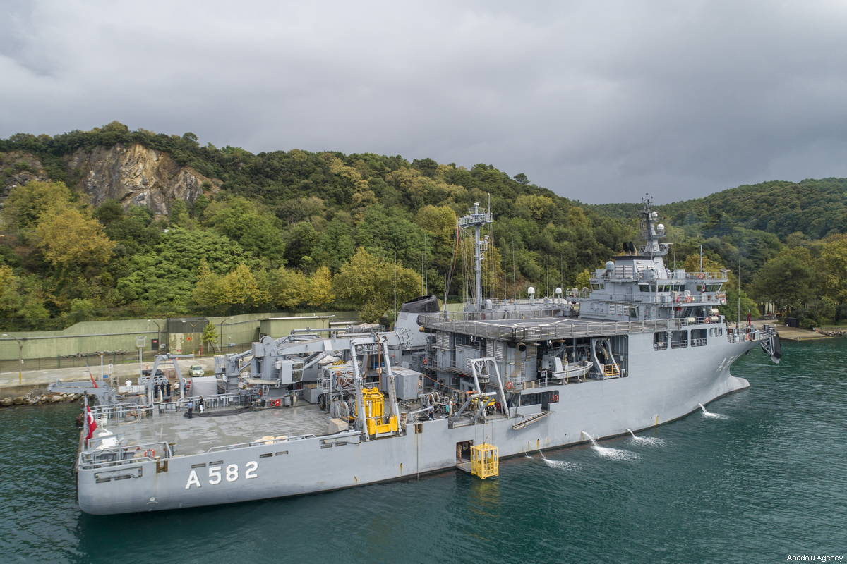 Turkish Naval Forces's ship, is seen docked in Istanbul, Turkey on 5 October, 2018 [Muhammed Enes Yıldırım/Anadolu Agency]
