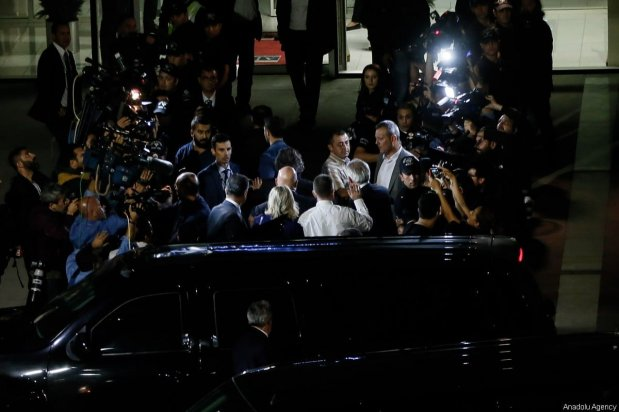 US pastor Andrew Brunson accompanied by his wife Norine Brunson and The US Embassy Charge d'Affaires in capital Ankara, Jeffrey Hovenier arrives at Adnan Menderes Airport ahead of his departure from Turkey, on October 12, 2018 in Izmir, Turkey [Mahmut Serdar Alakuş / Anadolu Agency]