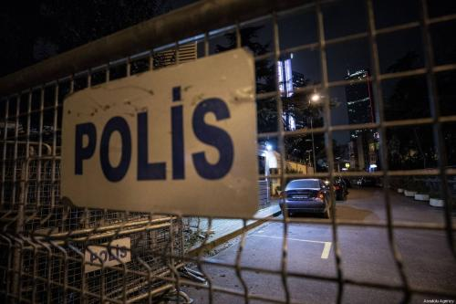 Police barricades are seen outside the entrance of the Saudi consulate as the waiting continues on the disappearance of Prominent Saudi journalist Jamal Khashoggi, in Istanbul, Turkey on October 19, 2018 [Şebnem Coşkun / Anadolu Agency]