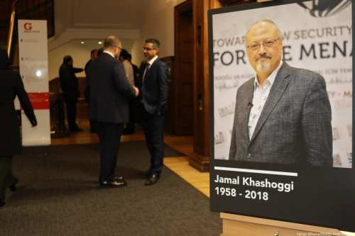 Hundreds of guests attend MEMO and Al-Sharq Forum's event to honour the memory of Saudi journalist Jamal Khashoggi on 29 October 2018 [Jehan Alfarra/Middle East Monitor]
