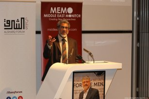 Dr Daud Abdullah, MEMO's director and friend of Jamal Khashoggi, speaks at MEMO and Al-Sharq Forum's event in London 'Remembering Jamal' on 29 October 2018 [Jehan Alfarra/Middle East Monitor]