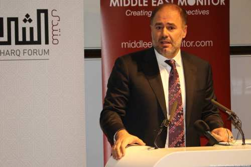 Al-Sharq Forum Director Wadah Khanfar speaks about his friend Saudi journalist Jamal Khashoggi in London on 29 October 2018 [Jehan Alfarra/Middle East Monitor]