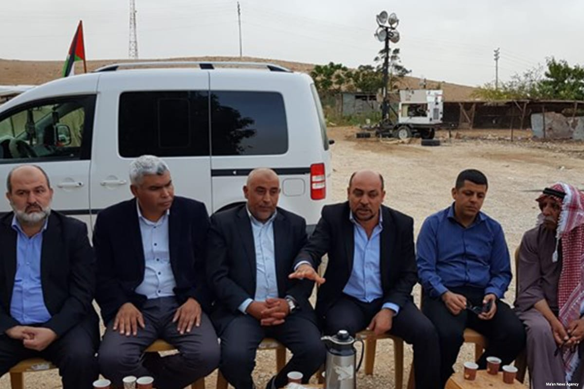 Arab member of the Israeli Knesset visited the Khan Al-Ahmar Bedouin village on 25 October 2018 [Ma'an News Agency]