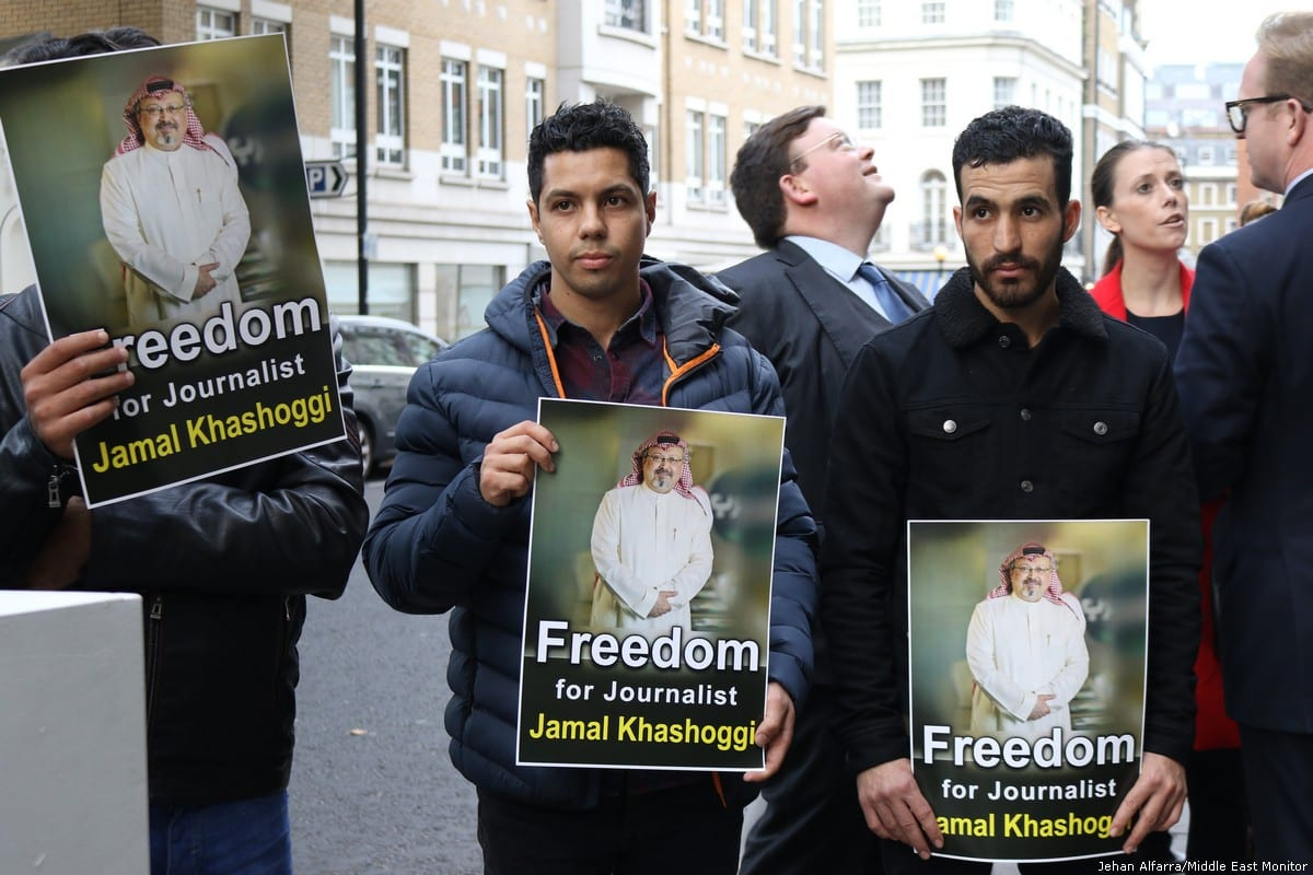 A protest calling for the release of missing Saudi journalist, Jamal Khashoggi [Jehan Alfarra/Middle East Monitor]