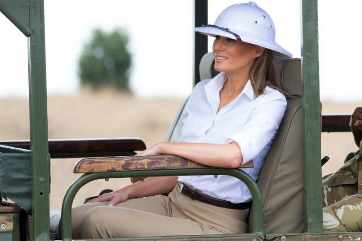 US First Lady Melania Trump is wearing a pith helmet which is considered a symbol of the European colonial era, on the first stop of her Africa tour [Twitter]