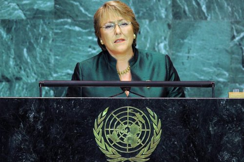 Michelle Bachelet, United Nations High Commissioner for Human Rights, addresses the United Nations General Assembly in New York [Twitter]