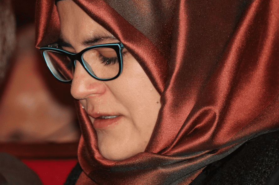 Jamal Khashoggi's fiancée Hatice Cengiz in London on 29 October 2018