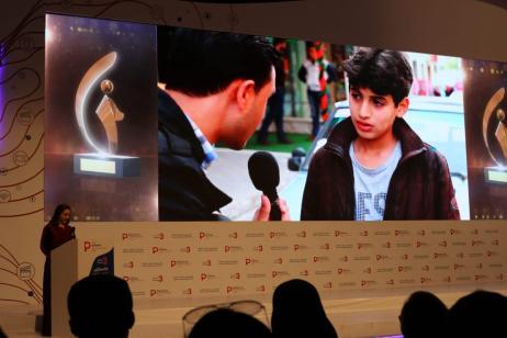 'A ticket to... Israel' wins a Creative Media Award at Tawasol 3 in Istanbul, Turkey, on 17 November 2018 [Jehan Alfarra/Middle East Monitor]