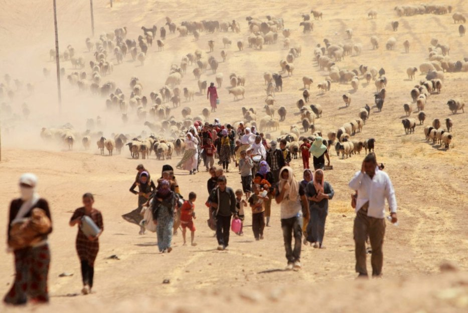 Displaced people from the minority Yazidi sect, fleeing violence from forces loyal to the Islamic State in Sinjar town, walk towards the Syrian border, on the outskirts of Sinjar mountain, near the Syrian border town of Elierbeh of Al-Hasakah Governorate August 10, 2014 [REUTERS/Rodi Said]