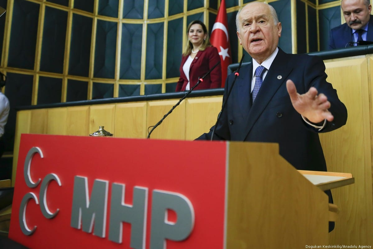 Turkey's Nationalist Movement Party's (MHP) Leader Devlet Bahceli speaks during his party's group meeting at the Grand National Assembly of Turkey, in Ankara, Turkey on 23 October 2018 [Doğukan Keskinkılıç/Anadolu Agency]