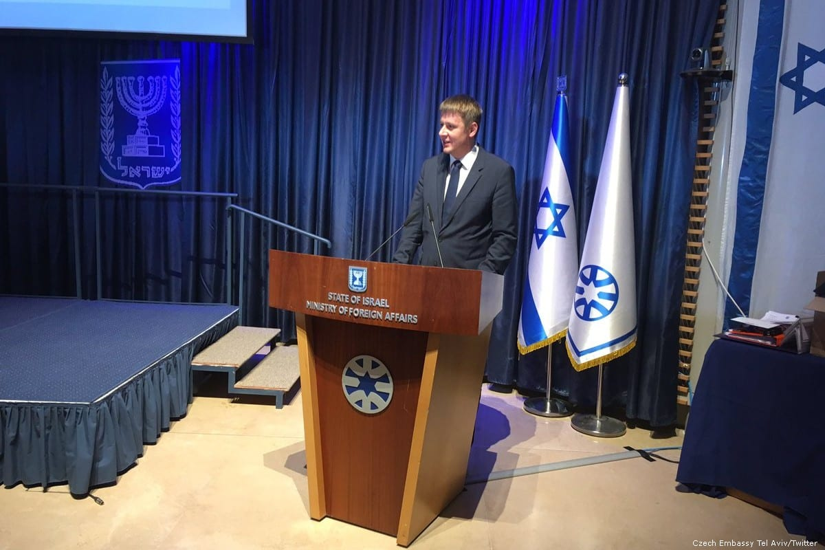 Czech Foreign Minister Tomas Peteicek delivers a speech in Jerusalem on 14 November 2018 [Czech Embassy Tel Aviv/Twitter]
