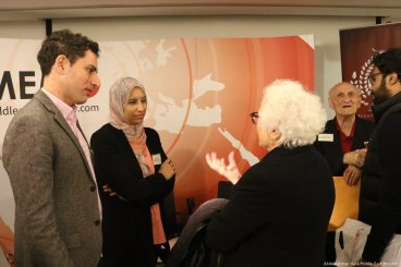 Shortlist authors Tareq Baconi and Maha Nasser talk to the members of the audience at the Palestine Book Awards pre-launch event on 15 November 2018 [Abdelrahman Said/Middle East Monitor]