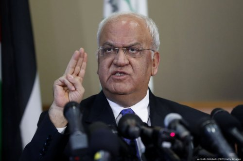 Palestine Liberation Organization's Secretary General Saeb Erekat speaks to journalists during a press conference in the West Bank city of Ramallah on 11 September 2018 [AHMAD GHARABLI/AFP/Getty Images]