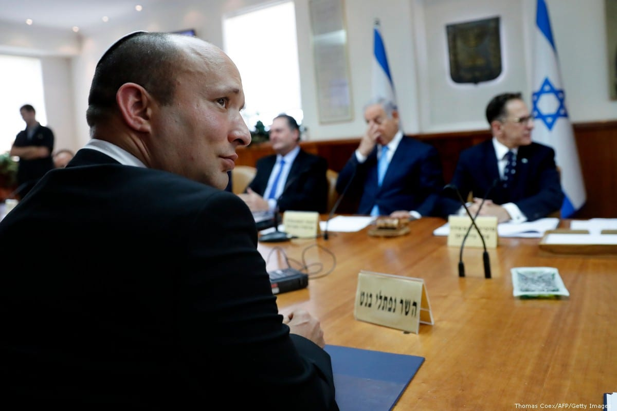 Israeli Education Minister Naftali Bennett (L) in Jerusalem on 12 September 2018 [Thomas Coex/AFP/Getty Images]