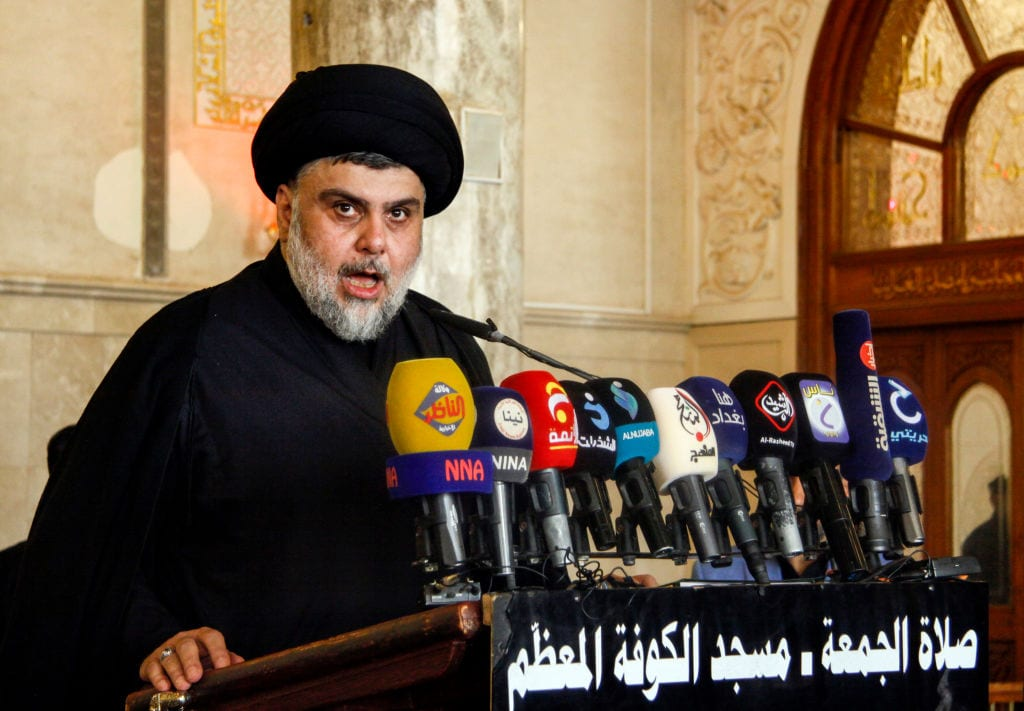 Iraqi Shia leader and cleric Moqtada al-Sadr at the grand mosque of Kufa in the central Iraqi shrine city, some 160 kilometres south of the capital Baghdad, on 21 September 2018 [Haidar Hamdani/AFP/Getty Images]