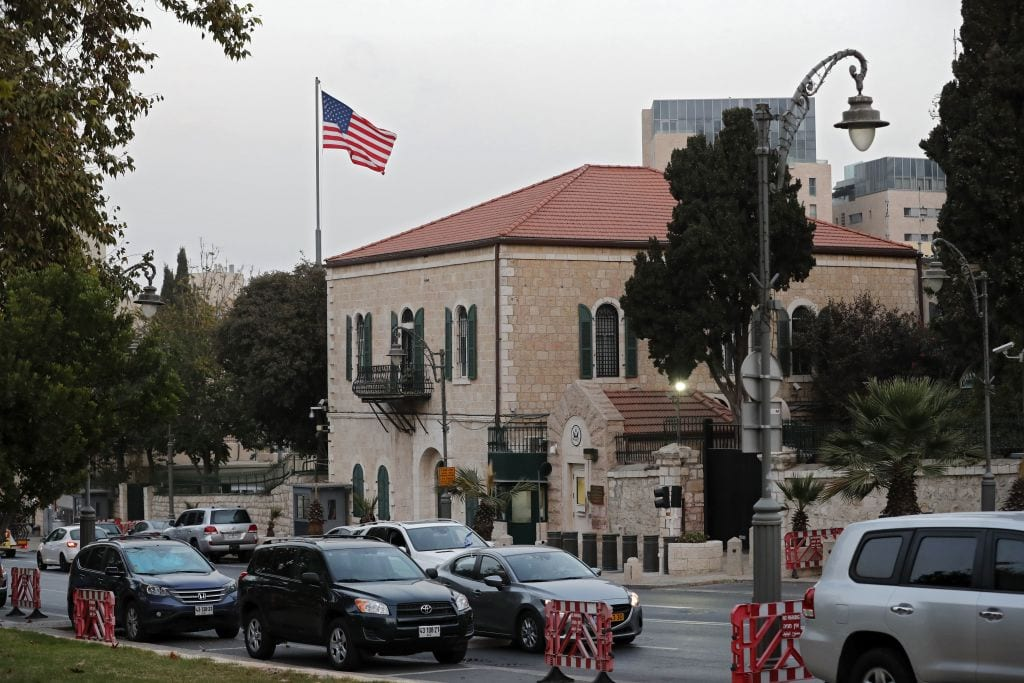 A picture taken on October 18, 2018 shows the US Consulate in Jerusalem on October 2018 [THOMAS COEX/AFP/Getty Images)