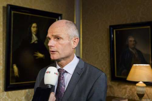Netherlands' Minister of Foreign Affairs Stef Blok (L) speaks to journalists as he reacts to the decision of Netherlands's Minister of Finance of not to travel to Saudi Arabia for a conference in The Hague, on October 18, 2018 [BART MAAT/AFP/Getty Images]