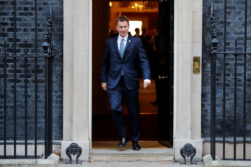 Britain's Foreign Secretary Jeremy Hunt leaves after attending the weekly meeting of the cabinet at 10 Downing Street in London on November 13, 2018. (Photo by TOLGA AKMEN/AFP/Getty Images)