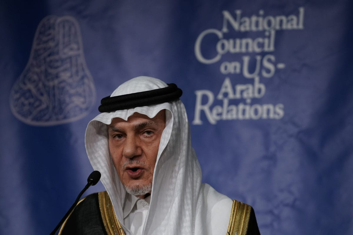 Former Saudi Ambassador to the United States Turki Al Faisal Al-Saud speaks during the 27th annual Arab-U.S. Policymakers conference on 31 October, 2018 [Alex Wong/Getty Images]