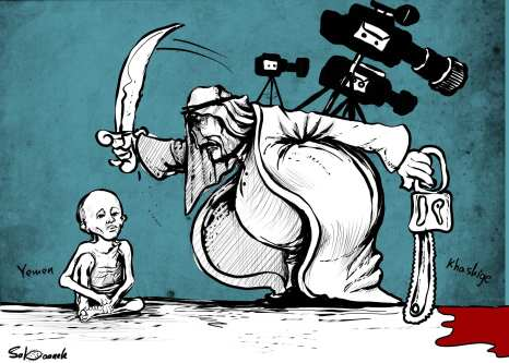 While all eyes were on Khashoggi's case, Yemen is dying - Cartoon [Sabaaneh/MiddleEastMonitor]