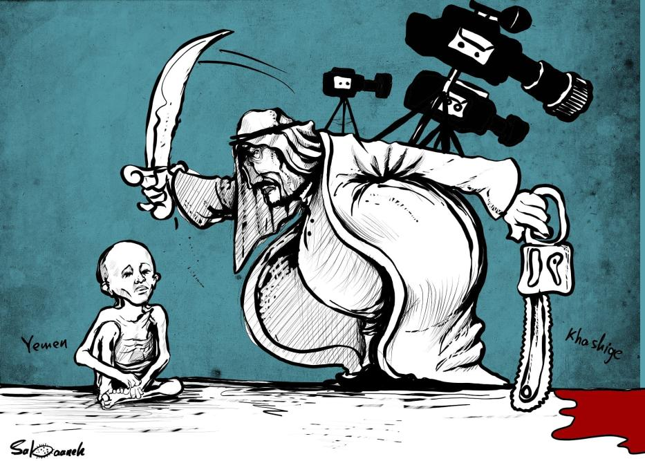 While all eyes were on Khashoggi's case, Yemen is dying - Cartoon [Sabaaneh/MiddleEastMonitor]