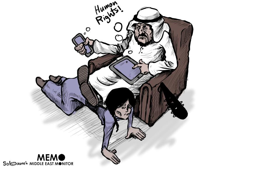 Maids being abused in Gulf countries - Cartoon [Sabaaneh/MiddleEastMonitor]