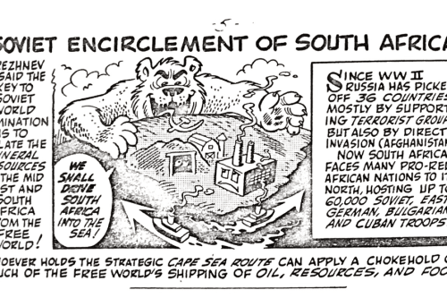 """Who's Behind the South African Crisis?"" Comic by Disney Cartoonist Vic Lockman"
