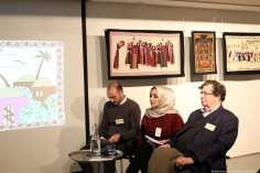 Ibrahim Muhtadi (L), Jehan Alfarra (C) and Karl Sabbagh (R) answer questions at the Palestinian History Tapestry event [Abdelrahman Said/Middle East Monitor]