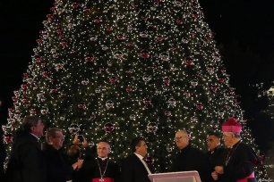 Palestinian Prime Minister, Rami Hamdallah attends the lighting of the Christmas tree in Bethlehem on 1 December 2018 [Prime Minister Office/Apaimages]