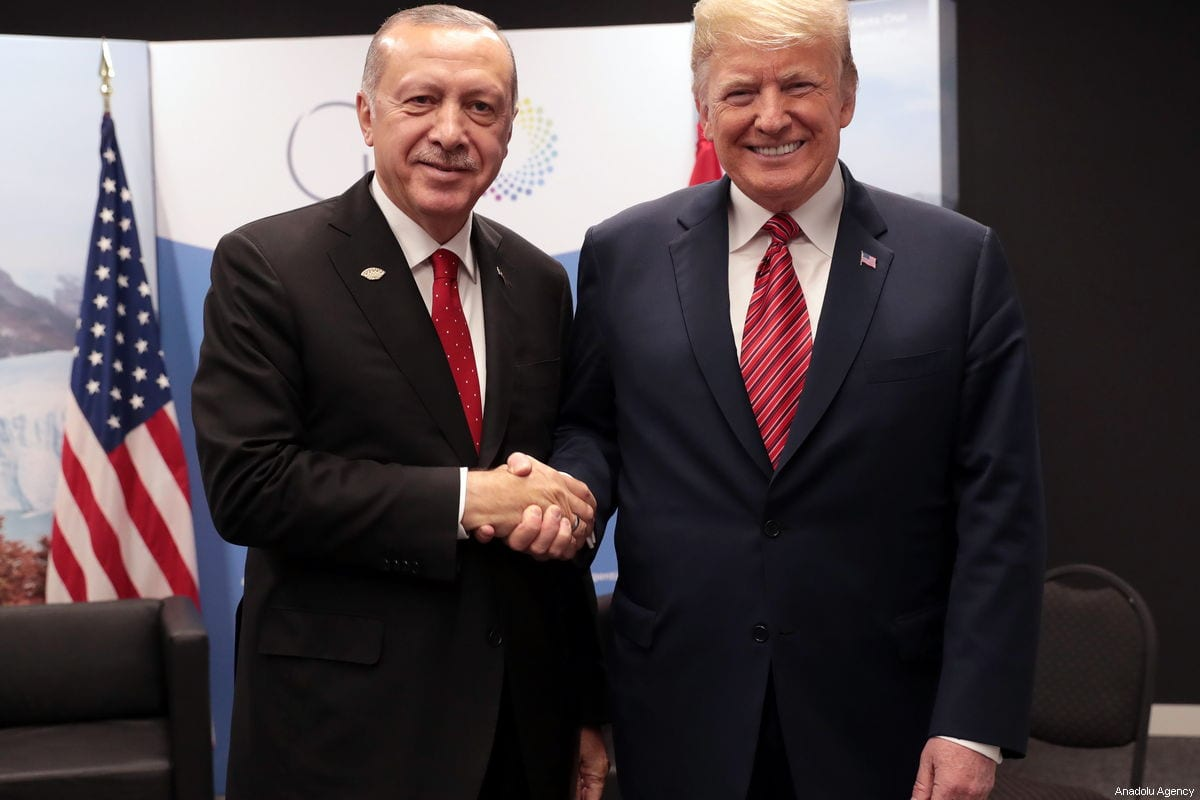 President of Turkey Recep Tayyip Erdogan (L) meets with U.S. President Donald Trump (R) within the G20 Leaders' Summit in Buenos Aires, Argentina on December 01, 2018. [TURKISH PRESIDENCY / MURAT CETINMUHURDAR / HANDOUT - Anadolu Agency]