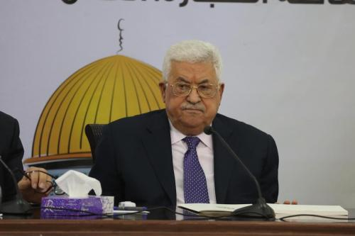Palestinian President Mahmoud Abbas makes a speech as he attends the Advisory Board meeting of the Palestine National Liberation Movement (FATAH) in Ramallah, West Bank on 9 December 2018. [Issam Rimawi/Anadolu Agency]