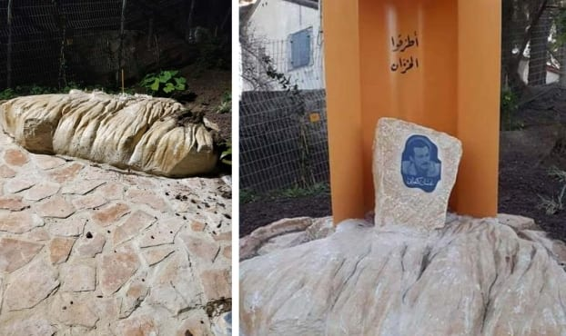 Statue of the late Palestinian novelist Ghassan Kanafani was demolished by Israeli authorities