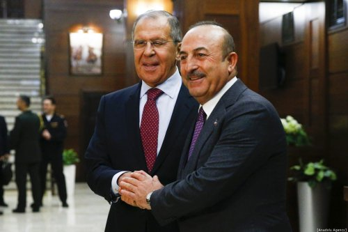 Minister of Foreign Affairs of Russia, Sergey Lavrov (L) meets Minister of Foreign Affairs of Turkey, Mevlut Cavusoglu (R) in Moscow, Russia on December 29, 2018. [Sefa Karacan - Anadolu Agency]