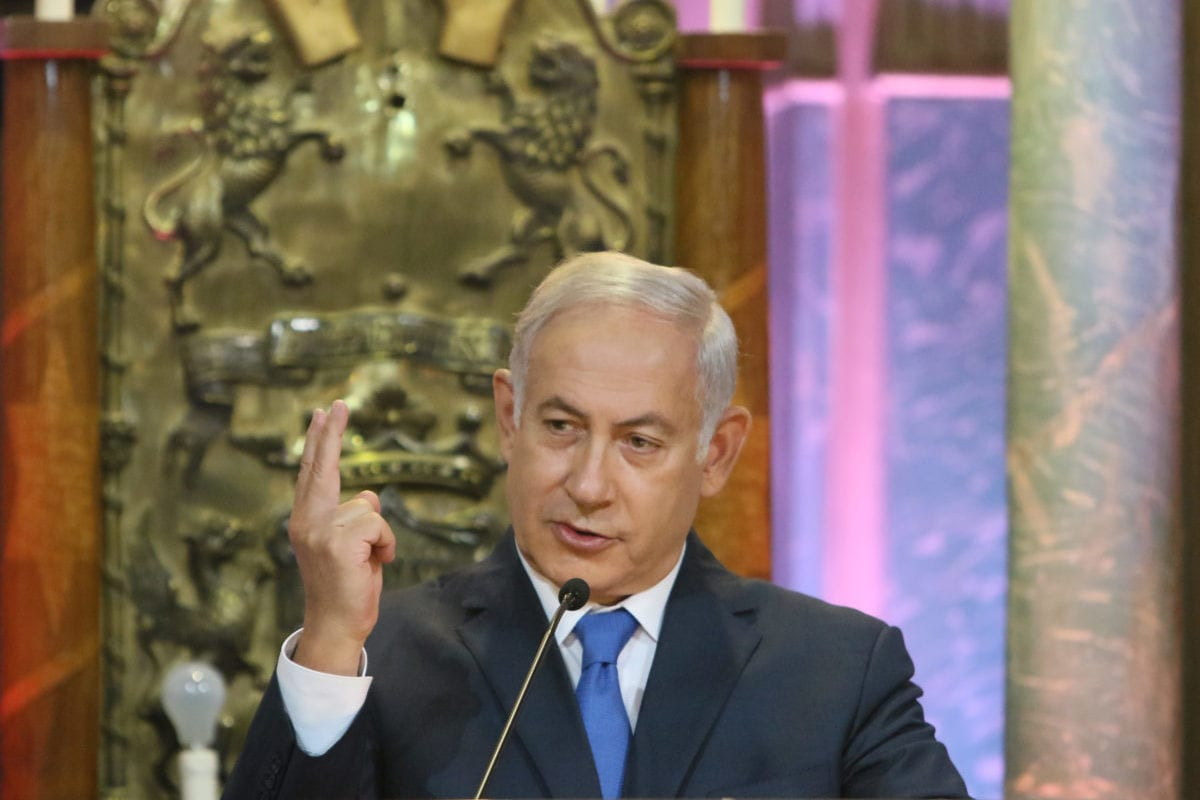 The Prime Minister of Israel Benjamin Netanyahu speaks as he visits the the Choral Synagogue in Vilnius on 26 August, 2018 [Petras Malukas /AFP/Getty Images]