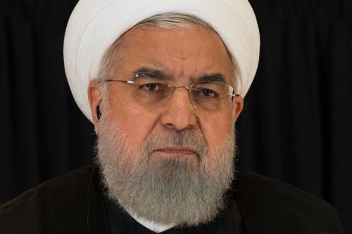 Iranian President Hassan Rouhani speaks during a press conference in New York on 26 September 2018 on the sidelines of the United Nations General Assembly [JIM WATSON/AFP/Getty Images]