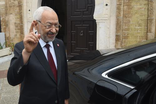 Leader of Tunisia's Ennahda movement, Sheikh Rachid Ghannouchi in Tunis, Tunisia on Octobe 2018 [FETHI BELAID/AFP/Getty Images]
