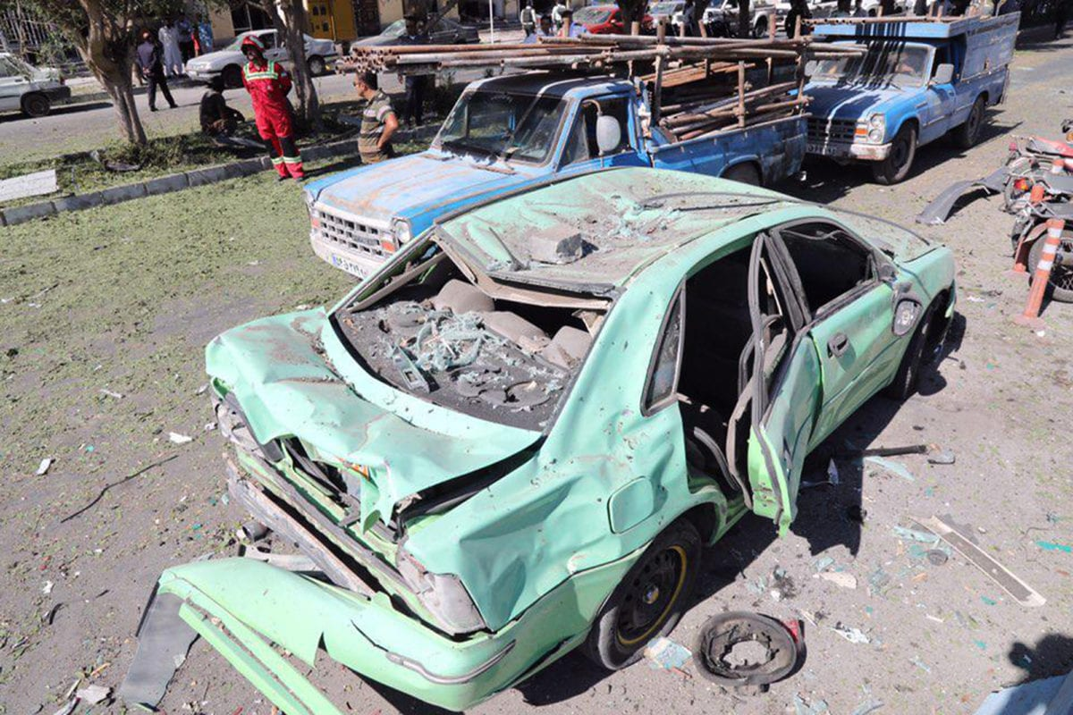 A general view of the scene of a car bombing in front of a police station in the city of Chabahar, on December 06, 2018 in southern Iran [STR/AFP/Getty Images]