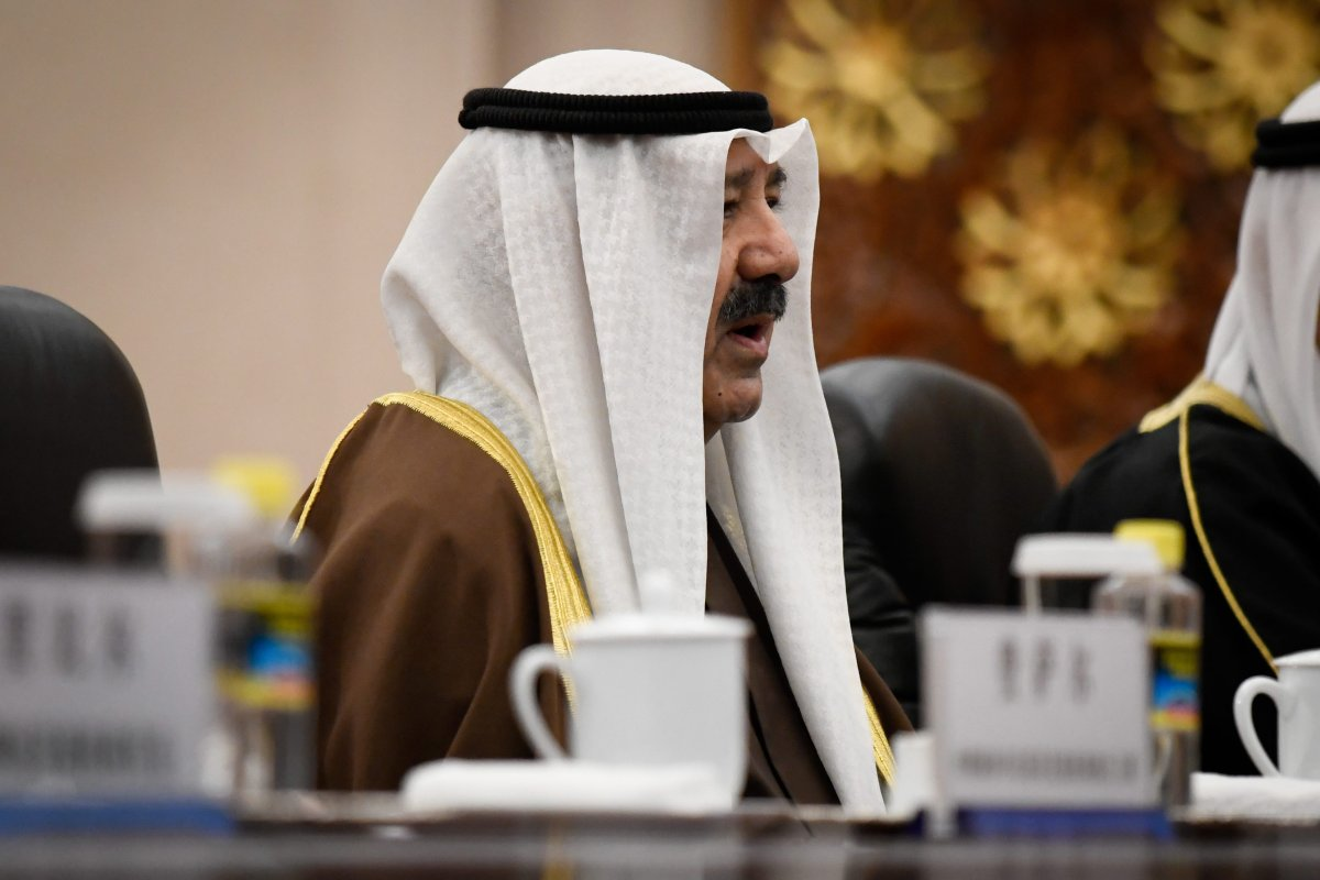 Kuwaiti first Deputy Prime Minister and Minister of Defence Sheikh Nasser Sabah al-Ahmad al-Sabah speaks during a meeting with Chinese Vice Premier Han Zheng (not in picture) at the Great Hall of the People in Beijing on 17 December, 2018 [WANG ZHAO/AFP/Getty Images]